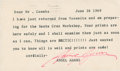 "Autographs:Artists, Ansel Adams Typed Note Signed. One page, 5.5"" x 3.25"", June 26, 1969, n.p. Adams writes Rednor Coombs of Massachusetts that ..."