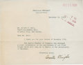 """Autographs:Inventors, Orville Wright Typed Letter Signed. One page, 7.25"""" x 5.75"""",December 14, 1938, Dayton, Ohio, to Albert T. Bell of New Jerse..."""