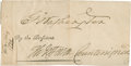 "Autographs:U.S. Presidents, George Washington and Thomas Jefferson Signatures excised from apresidential document, 6"" x 3"", [ca. 1763], n.p. Presid..."