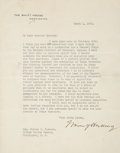"Autographs:U.S. Presidents, Warren G. Harding Typed Letter Signed as president on White House letterhead. One page, 7"" x 9"", March 1, 1923, Washington, ..."