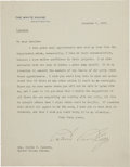 "Autographs:U.S. Presidents, Calvin Coolidge Typed Letter Signed as president. One page, 7"" x 9"", December 5, 1923, Washington, on White House letterhead..."