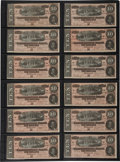 Autographs:Military Figures, Confederate Currency: Twelve Consecutively Numbered Confederate $10 Bills, engraved by Keatinge & Ball in Columbia, South Ca... (Total: 12 Items)