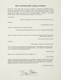 """Autographs:Celebrities, Buzz Aldrin Typed Quotation Signed. One page, 8.5"""" x 11"""", n.d.,n.p. This document contains the first series of statements m..."""