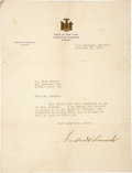 "Autographs:U.S. Presidents, Franklin Roosevelt Typed Letter Signed ""Franklin D.Roosevelt"" while governor of New York. One page, 8"" x 10.5"",Novembe..."