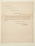 """Autographs:U.S. Presidents, John Quincy Adams Document and Envelope Signed """"J. Q. Adams""""as secretary of state. One page, 8"""" x 9.75, November 8, 182..."""
