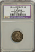 Bust Dimes, 1814 10C Large Date--Improperly Cleaned--F12 NCS. F Details. JR-3.NGC Census: (3/147). PCGS Population (5/121). Mintag...