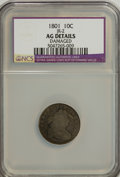 Early Dimes: , 1801 10C --Damaged--NCS. AG Details. JR-2. NGC Census: (3/25). PCGSPopulation (2/45). Mintage: 34,640. Numismedia Wsl. Pri...