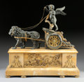 Timepieces:Clocks, A FRENCH EMPIRE PARCEL GILT BRONZE AND SIENA MARBLE FIGURAL CLOCK.19th Century. Movement stamped: A1. 16-5/8 inches (42...