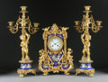 Timepieces:Clocks, A FRENCH NAPOLEON III GILT BRONZE AND PORCELAIN CLOCK AND GARNITURE SET. Third Quarter 19th Century. Dial signed: Vieyres ... (Total: 3 Items)
