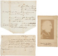 """Autographs:Military Figures, John Butler Two Documents Signed. One, dated 1770, is addressed to Major Jellis Fonda and concerns the purchase of """"a gall... (Total: 3 Items)"""