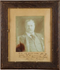 """Autographs:U.S. Presidents, Theodore Roosevelt Signed and Inscribed Photograph, 7.5"""" x 9.5""""Harris & Ewing print, chest-up portrait...."""