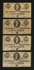 Confederate Notes:1864 Issues, Four T72 50 Cents 1864.. ... (Total: 4 notes)