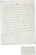 "Autographs:Non-American, Napoleon Bonaparte Letter Signed ""Np"". One page in French,7.5"" x 9"", September 5, 1811, Compiegne, France, to French Mi..."