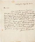 "Autographs:U.S. Presidents, James Monroe Autograph Letter Signed as president. Four integralpages, written on page one and addressed on page four, 8"" x..."