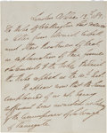 "Autographs:Non-American, Duke of Wellington Autograph Letter. One page, front and verso,7.25"" x 9"", October 13, 1835, London. The letter relates to ..."