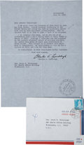"""Autographs:Celebrities, Charles Lindbergh Typed Letter Signed """"Charles A.Lindbergh"""". One page, 8.5"""" x 11"""", June 26, 1970, [Fribourg]Switzerlan..."""