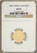 Liberty Quarter Eagles: , 1843-O $2 1/2 Small Date, Crosslet 4 AU53 NGC. NGC Census: (64/349). PCGS Population (13/86). Mintage: 288,002. Numismedia ...