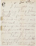 "Autographs:Authors, Samuel Clemens ""Mark Twain"" Autograph Letter Signed to Publisher Elisha Bliss, Jr. One page on Clemens' personalized statio..."