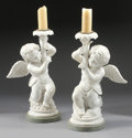 Decorative Arts, Continental:Lamps & Lighting, A PAIR OF ITALIAN CARRARA MARBLE SINGLE LIGHT FIGURAL CANDELABRA.30-1/2 x 18 x 15 inches (77.5 x 45.7 x 38.1 cm) each. ... (Total: 2Items)