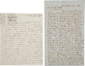 "Autographs:Celebrities, [Joseph Smith] Two Mid-19th Century Letters with Mormon Content.Autograph Letter Signed ""J.H. Sherman"", 2 pages, 7.5"" x...(Total: 2 Items)"
