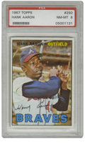 Baseball Cards:Singles (1960-1969), 1967 Topps Hank Aaron #250 PSA NM-MT 8. Top-quality representationcaptures the swing that would conquer the baseball world...
