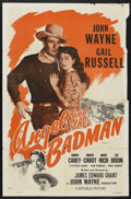 "Movie Posters:Western, Angel and the Badman (Republic, R-1959). One Sheet (27"" X 41"").Western. Starring John Wayne, Gail Russell, Harry Carey, Bru..."
