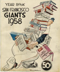 Baseball Collectibles:Publications, 1958 New York Giants Official Yearbook. Great example of theofficial yearbook produced by the Giants franchise during thei...