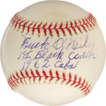 "Autographs:Baseballs, Buck O'Neil ""First Black Coach 1962 Cubs"" Single Signed Baseball.Baseball's first African-American coach makes note of th..."