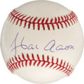 Autographs:Baseballs, Hank Aaron Single Signed Baseball. Clean ONL (White) orb that wesee here has been signed by the legendary slugger Hank Aar...