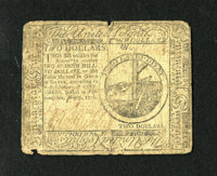 Continental Currency May 9, 1776 $2 Very Good. An approximate quarter inch split is noticed at top center and a small no...