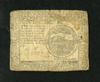 Continental Currency February 26, 1777 $4 Fine. The upper right corner holds a moisture spot