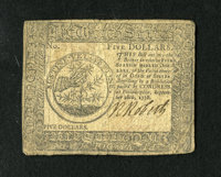 Continental Currency September 26, 1778 $5 Fine. The signature in red ink has done its customary fading on this example...
