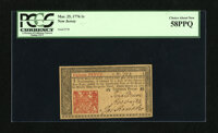 New Jersey March 25, 1776 1s PCGS Choice About New 58PPQ. Embossing stands out on this barely handled note. This is the...