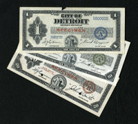 Depression Scrip Specimens. Detroit, MI- City of Detroit $1; $10; $20 1933 Series A Specimens. All three notes have two...