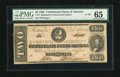 Confederate Notes:1862 Issues, T54 $2 1862. This fully framed $2 has earned its grade of PMG GemUncirculated 65....