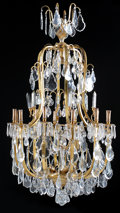 Decorative Arts, French:Lamps & Lighting, A FRENCH LOUIS XV STYLE GILT BRONZE AND CRYSTAL TWENTY LIGHTCHANDELIER. 56-1/2 x 32-3/4 x 32-3/4 inches (143.5 x 83.2 x 83....