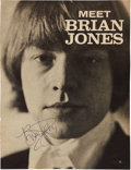Music Memorabilia:Autographs and Signed Items, Rolling Stones Related - Brian Jones Signed Magazine Page....