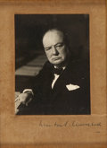 """Autographs:Authors, Winston Churchill Signed Photograph. One page, card stock, 4"""" x 5"""" (sight size), n.d., n.p., signed in ink with a photograph..."""