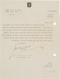 "Autographs:Non-American, David Ben-Gurion Typed Letter Signed as defense minister on Stateof Israel letterhead. One page, 6"" x 8"", March 24, 1955, T..."