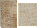 Autographs:Statesmen, [John Coffee] Joshua Coffee's Will Leaving His Son, John Coffee,Five Slaves (1797), with document (1839) related to Joh...