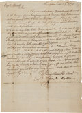 "Autographs:Military Figures, Jonathan Moulton Letter Signed. One page with address on the verso, 7.75"" x 12"", June 27, 1771, Hampton [New Hampshire]. The..."