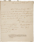 "Autographs:Military Figures, Horatio Gates Autograph Letter Signed. One page, 6.5"" x 8"", July 17, 1776, ""Tyonderoga"", written to an unnamed recipient..."