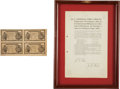 Autographs:Non-American, [Emiliano Zapata] Mexican Revolution: Broadside Announcing Issuanceof Mexican Revolutionary Currency with Four Uncut Five Pes...(Total: 2 Items)