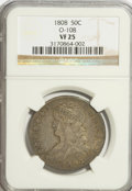 Bust Half Dollars: , 1808 50C VF25 NGC. O-108. NGC Census: (8/356). PCGS Population(17/374). Mintage: 1,368,600. Numismedia Wsl. Price for NGC...