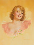 Pin-up and Glamour Art, PEARL FRUSH (American, 20th Century). Blonde with Corsage.Watercolor on board. 14.5 x 11 in.. Signed lower right. ...