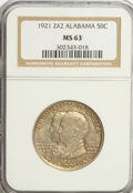 Commemorative Silver: , 1921 50C Alabama 2x2 MS63 NGC. NGC Census: (269/1112). PCGS Population (440/1193). Mintage: 6,006. Numismedia Wsl. Price fo...