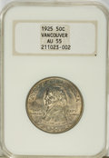 Commemorative Silver: , 1925 50C Vancouver AU55 NGC. NGC Census: (8/2024). PCGS Population(17/2903). Mintage: 14,994. Numismedia Wsl. Price for NG...
