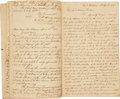 Autographs:Military Figures, [Andrew Jackson] John Coffee's Creek War Order Book. Nearforty-five pages containing general orders, court-martial notes,a...