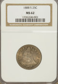 Seated Quarters: , 1888-S 25C MS62 NGC. NGC Census: (16/60). PCGS Population (9/50).Mintage: 1,216,000. Numismedia Wsl. Price for NGC/PCGS co...