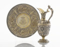 Silver Holloware, British:Holloware, A VICTORIAN SILVER GILT EWER AND UNDER PLATE. Richard WilliamElliott, London, England, 1843-1844. Marks: (lion passant), (l...(Total: 2 Items)